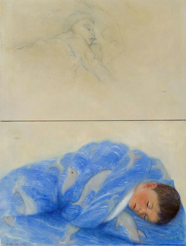"After Drawing of a Child Asleep by Malva Schalek, diptych, oil and pencil on canvas, 2009, 80 x 60 cm (32"" x 24"")"