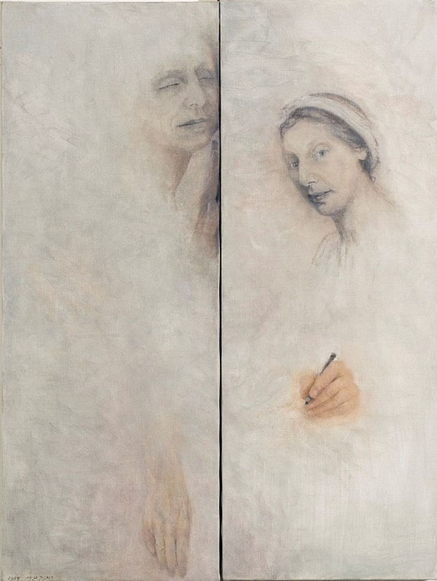 "She and I (3), diptych, oil and pencil on canvas, 2008, 80 x 60 cm (32"" x 24"")"