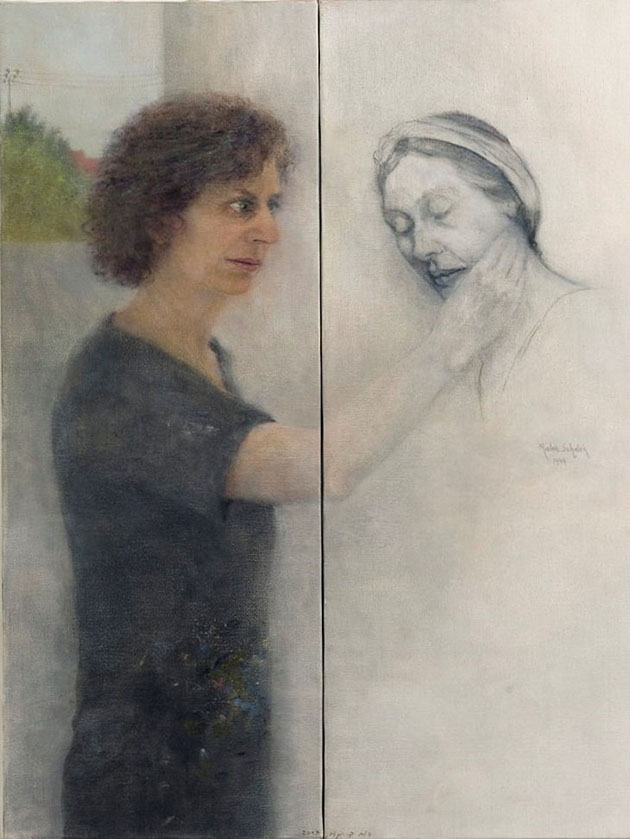 "She and I (2), diptych, oil and pencil on canvas, 2007, 80 x 60 cm (32"" x 24"")"