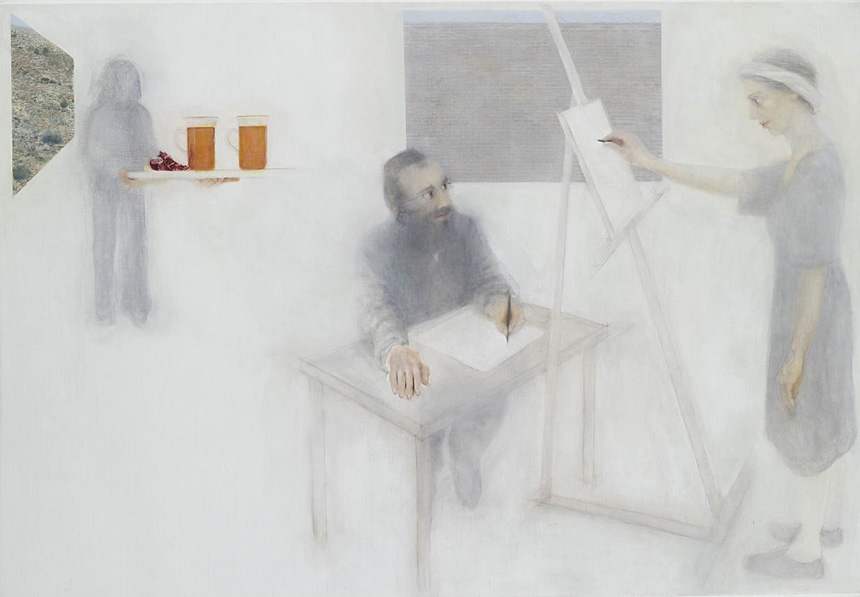 "The Painter and the Hassid 2, oil on canvas, 2009, 125 x 190 cm, 49"" x 75"""